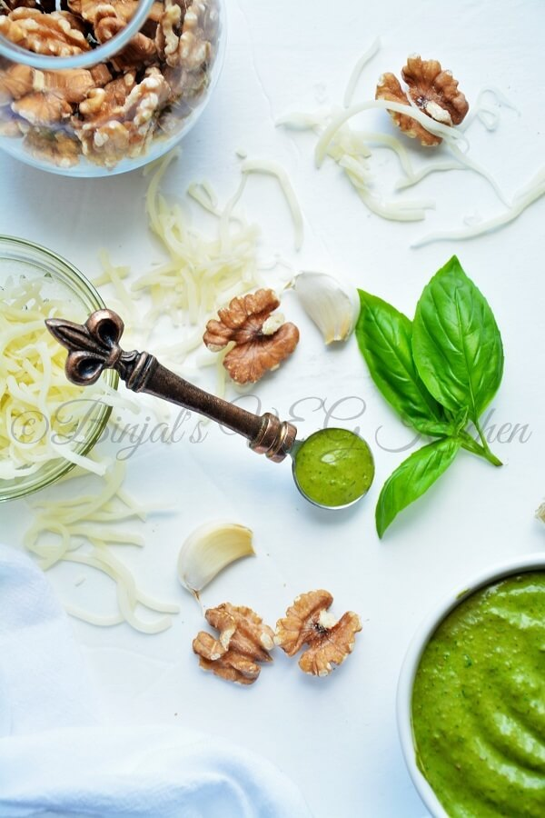 Basil Walnut Pesto - Binjal's VEG Kitchen