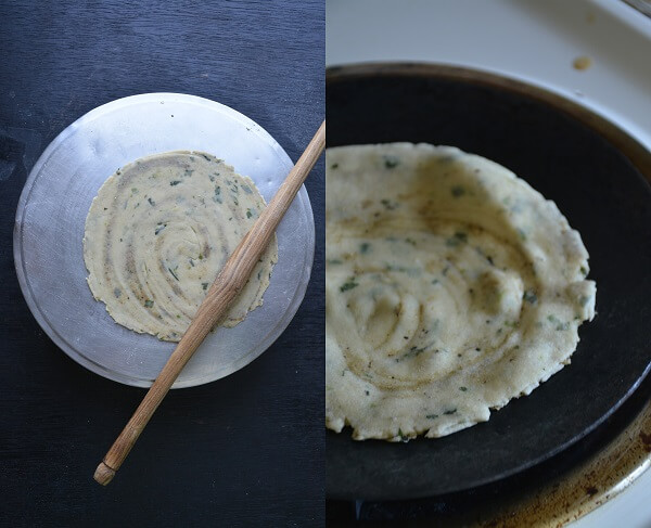 10. Turn the paratha upside down, after 1-2 minutes spread the little ...
