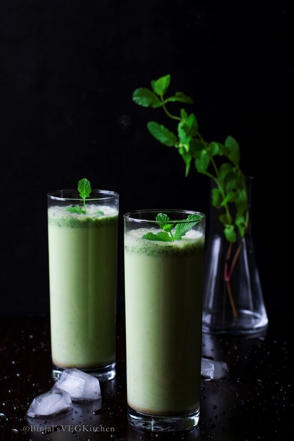 Salted Cucumber Mint Lassi - Binjal's VEG Kitchen