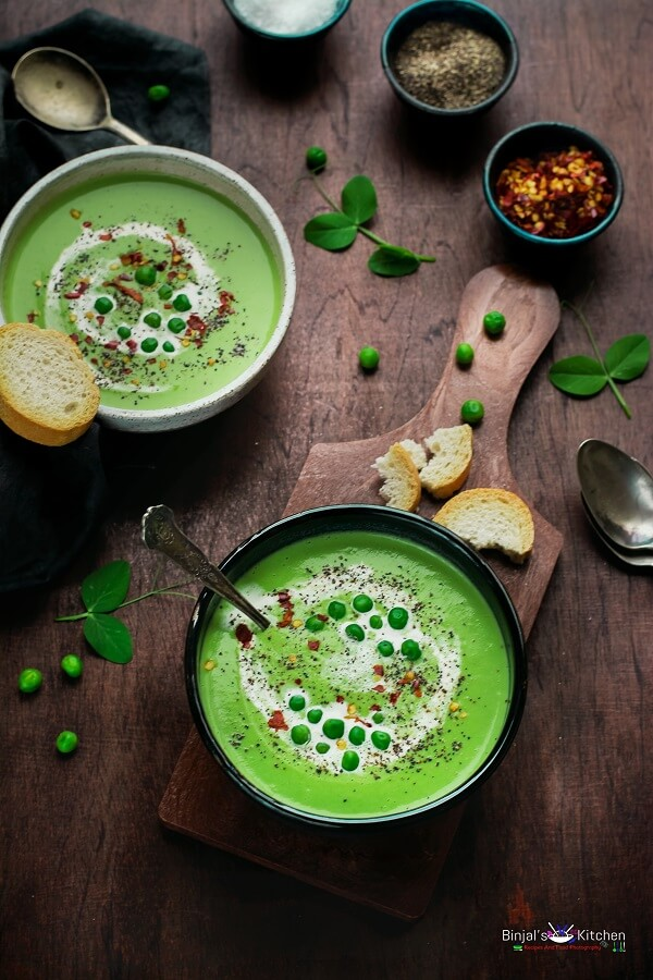 Roasted Garlic Green Peas Soup - Binjal's VEG Kitchen